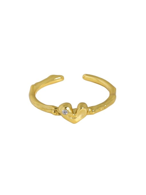 18K gold [No. 14 adjustable] 925 Sterling Silver Heart Minimalist Band Ring